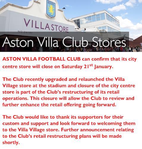 villa shop closed