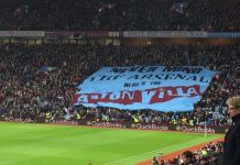 never mind the arsenal here's the aston villa surfer flag on holte end
