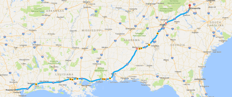 Houston to Greenville SC Route