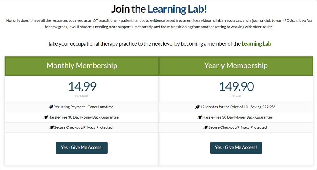 Learning Lab cost to join