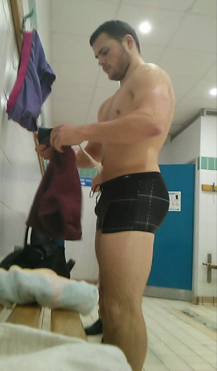 swimmer naked in changing room
