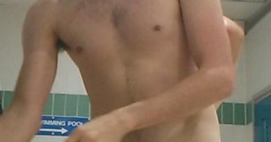 college swimmer naked in locker room