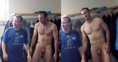 soccer player hunk naked in lockers