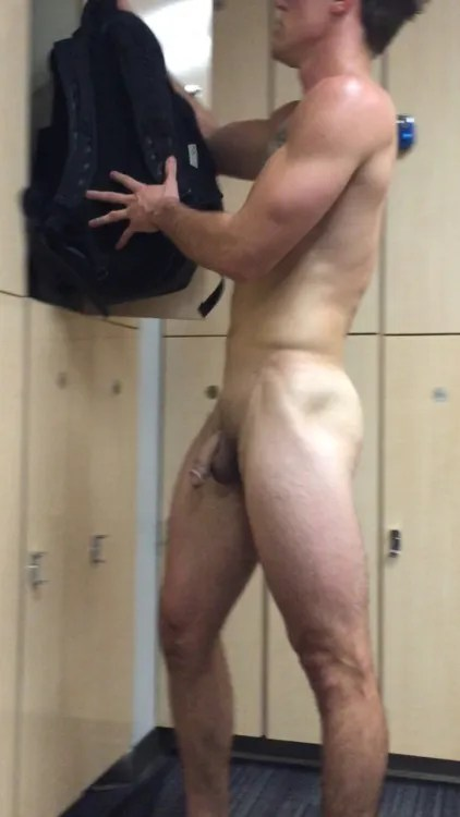 muscle guy-caught naked-in-locker room