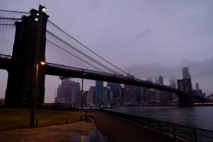 View sunset Manhattan Bridge