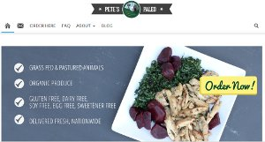 Screenshot of the home page of the Pete's Paleo website - Although technically Pete's does not offer a specific line for Whole30 meals delivery because they cut out all natural sugars and do not use anything but vegetables fruits oils and wild proteins in their meals, their food would in most cases qualify as Whole30 prepared meals.