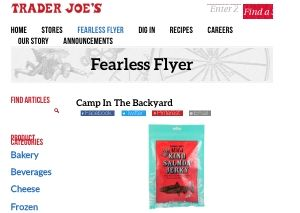 Screenshot of the Trader Joes fearless flyer newsletter archive on their website - In terms of salmon jerky trader joe's has offered several updated versions of this popular product over the years. One unique aspect of the Trader Joe's salmon jerky is that they commit to it being king salmon jerky, while other brands do not always commit to the type of salmon used.