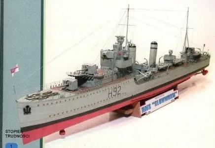 HMS Glowworm Destroyer Ship Paper Model