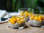 Crèmes aux graines de chia et lait végétal (soja) à la mangue