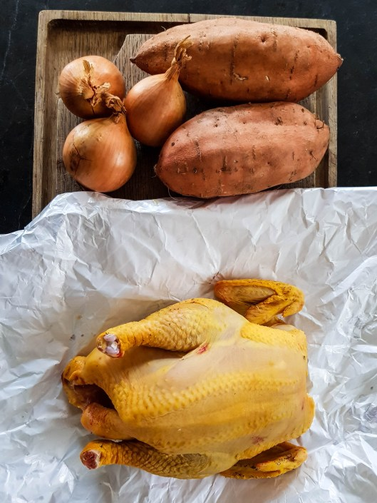 chicken, sweet potatoes and onion