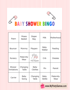 Free Printable Baby Shower Bingo Game in Pink Color