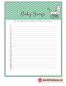 Free Printable Baby Songs Game Cards with Chevron Pattern