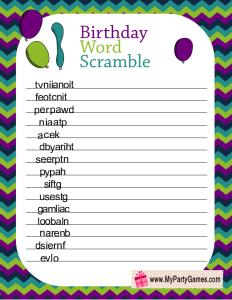 Birthday Word Scramble Game Printable in Peacock Colors