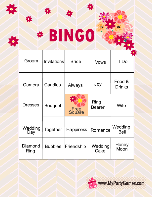 Trust image inside bridal shower bingo free printable