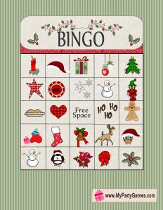 Free Printable Christmas Bingo Game Card 7