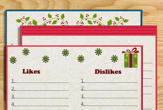 Free Printable Likes and Dislikes Christmas Game