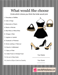 What would she choose? Game Card with Stripes