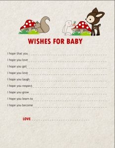 Free Printable Wishes for Baby Cards featuring woodland Animals