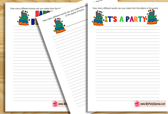 Free Printable Birthday Word Mining Game
