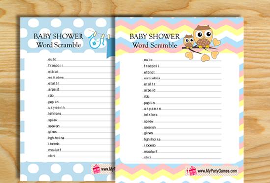 Free Printable Baby Shower Word Scramble Game
