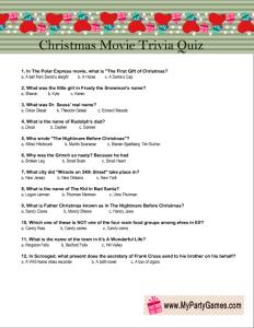 Free Printable Christmas Movie Trivia Quiz Game