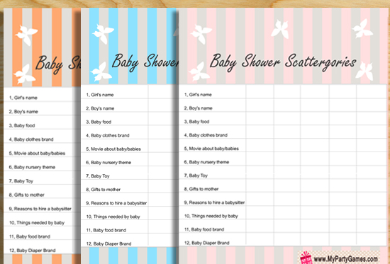 Free Printable Baby Shower Scattergories Game for Boy and Girl Baby Showers