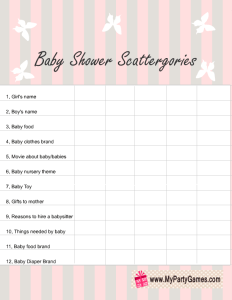 Baby Shower Scattergories Game List in Pink Color