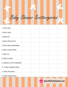 Free Printable Baby Shower Scattergories Game Lists in Gender neutral Orange Color