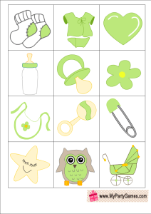 Who am I? Free Printable Baby Shower Ice Breaker Game in Green Color
