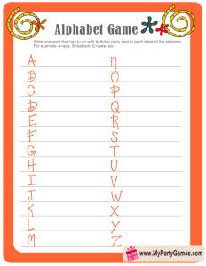 Birthday Alphabet Game in Orange Color - Free Printable