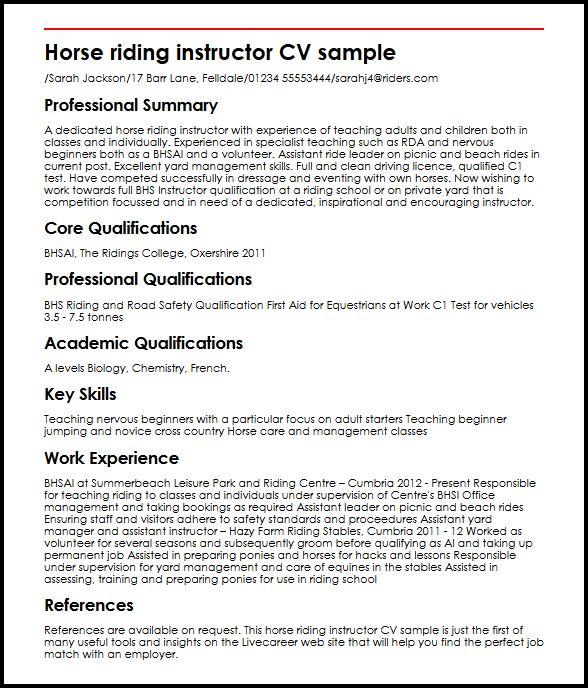 Horse Riding Instructor CV Sample MyperfectCV