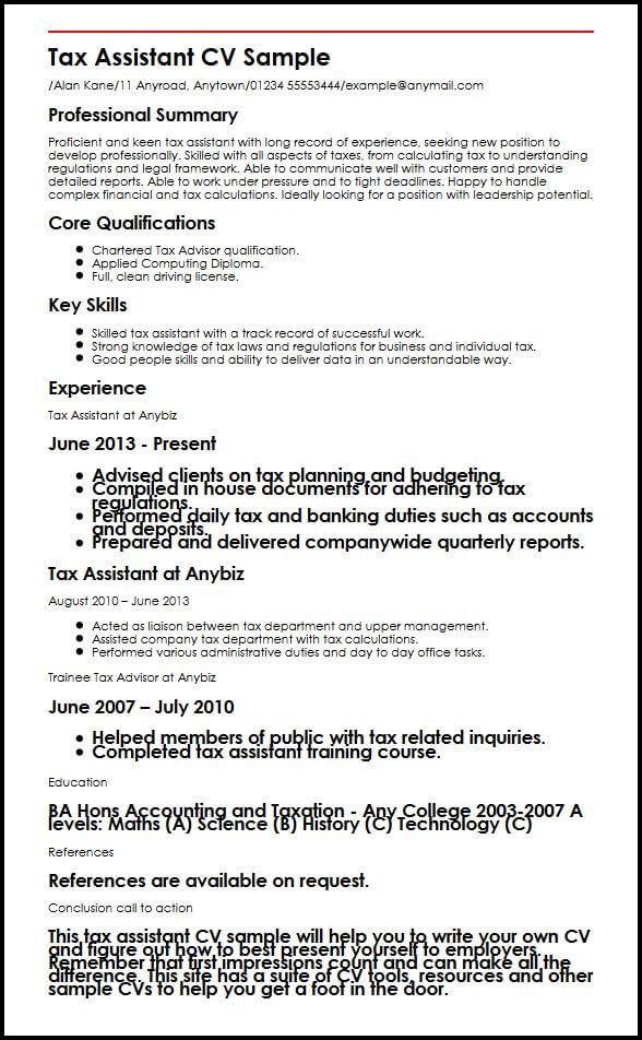Tax Assistant CV Sample MyperfectCV
