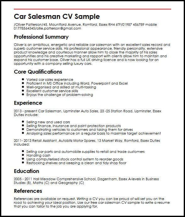 Car Salesman CV Sample MyperfectCV