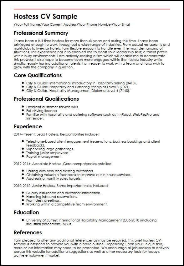 Hostess CV Sample MyperfectCV