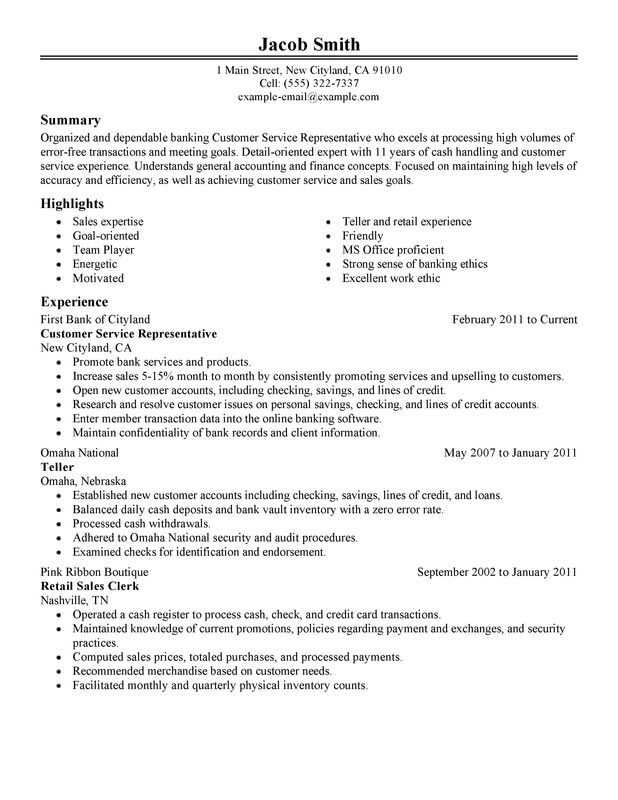 resume examples customer service position