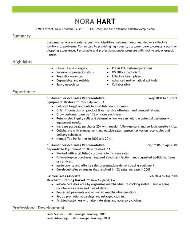 resume for cell phone sales representative