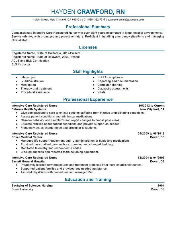 Experienced Nursing Resume Examples - Resume Sample