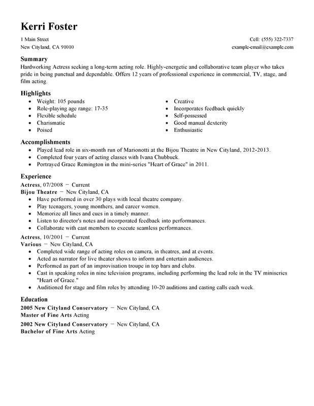 acting and modeling resume
