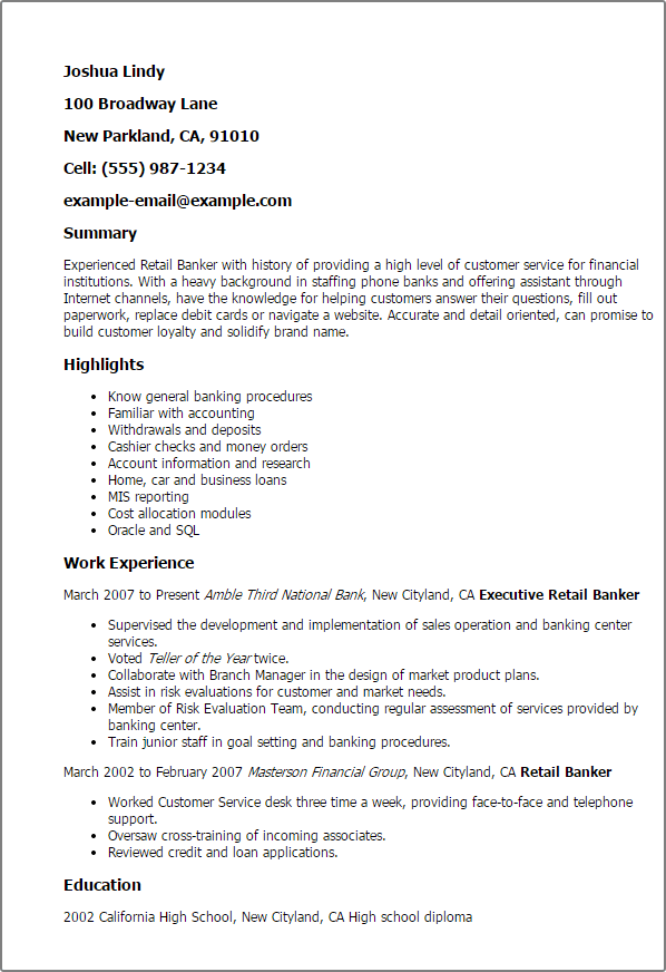 Phone Banker Resume Resume Sample