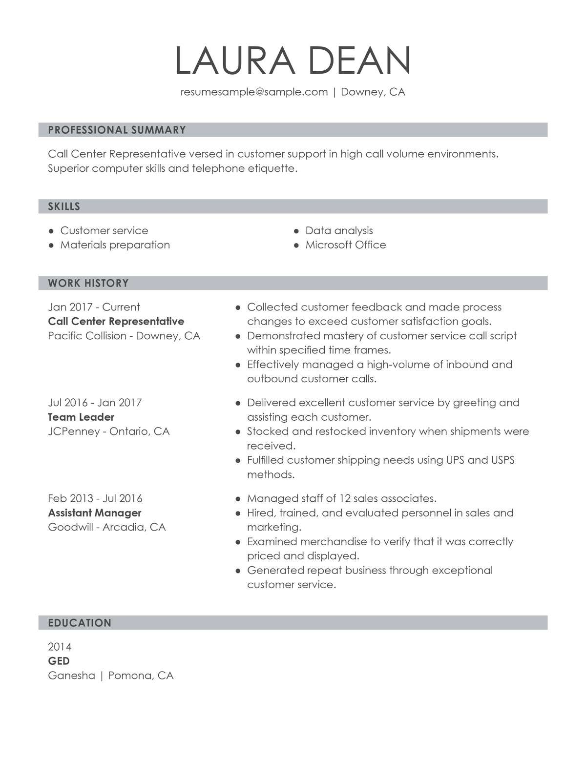 Resume Skill Examples For Customer Service