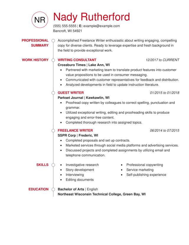 8 Freelance Writer Resume Example + Guide  MyPerfectResume
