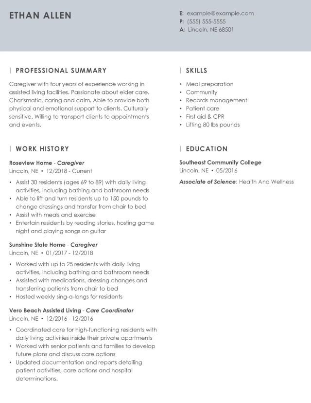 Professional Caregiver Resume Example + Tips  MyPerfectResume
