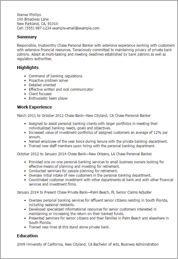 Chase Bank Personal Banker Job Description