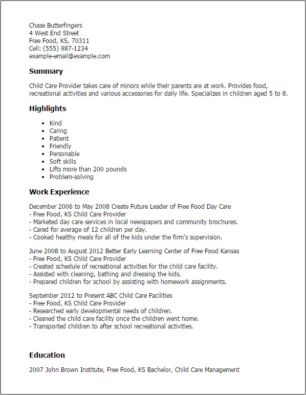 Child Care Provider Resume Template Best Design Tips