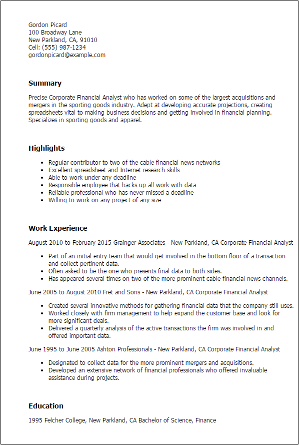 Financial analyst resume objective · looking for career as financial analyst using my knowledge increased in preceding job in monetary sector for the. Corporate Financial Analyst Templates Myperfectresume