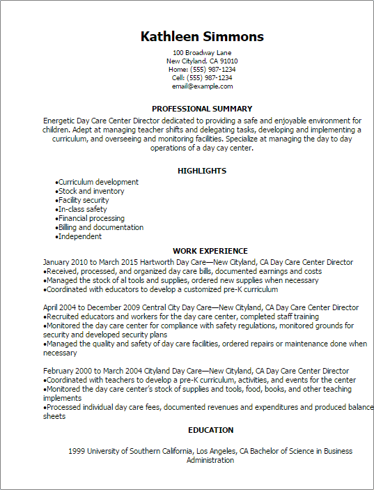 Amazing 1 Day Care Center Director Resume Templates Try Them Now