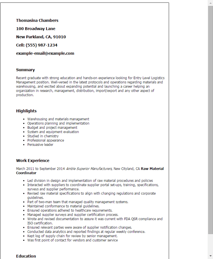 entry level logistics coordinator cover letter poemview co
