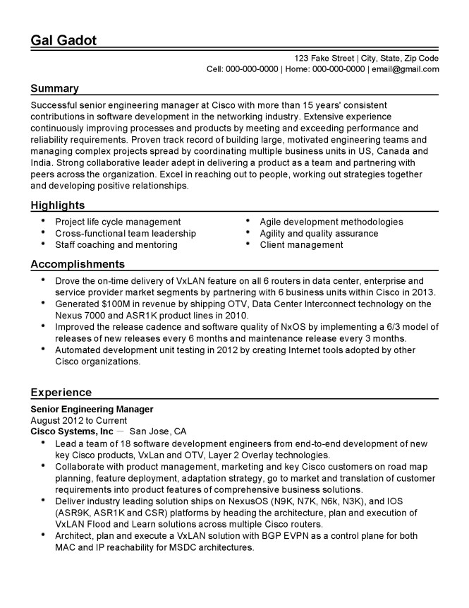 agile methodology resume