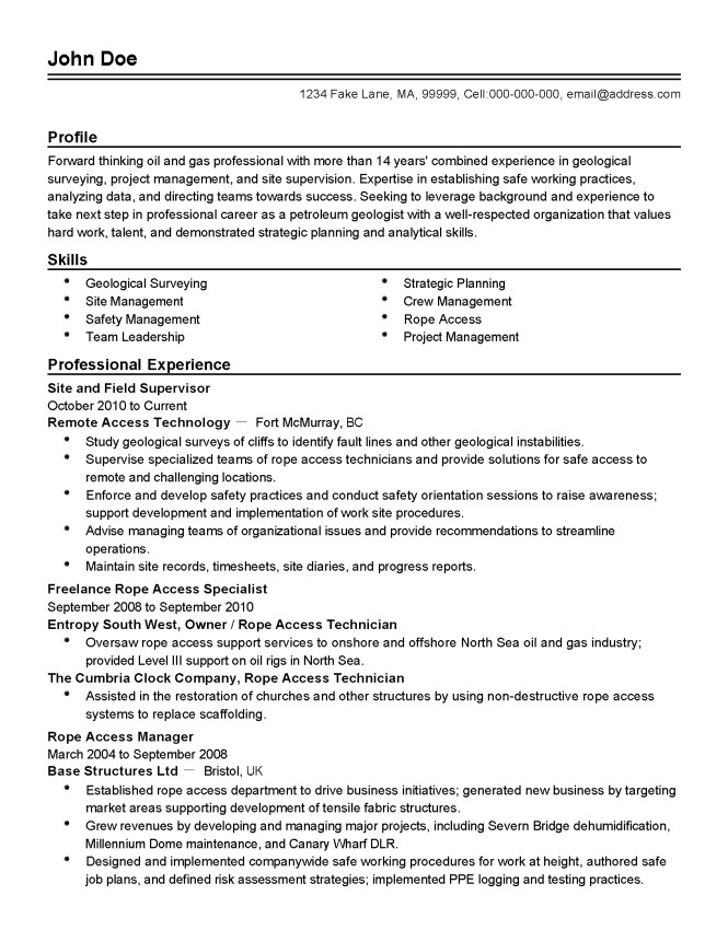 Oil And Gas Resume Template - Resume Sample