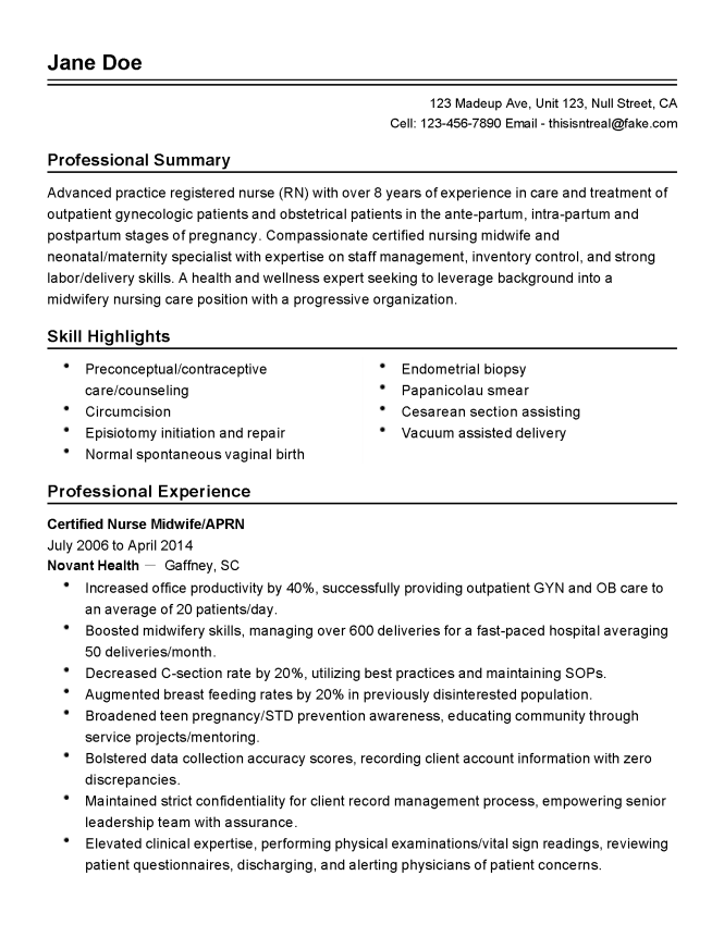 maternity nurse resume
